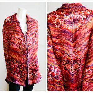 Free People Colourful Crochet Open Knit Boho Cardi